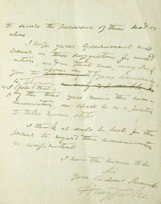 A handwritten draft of a letter by the NSW Premier Henry Parkes (3 of 3)