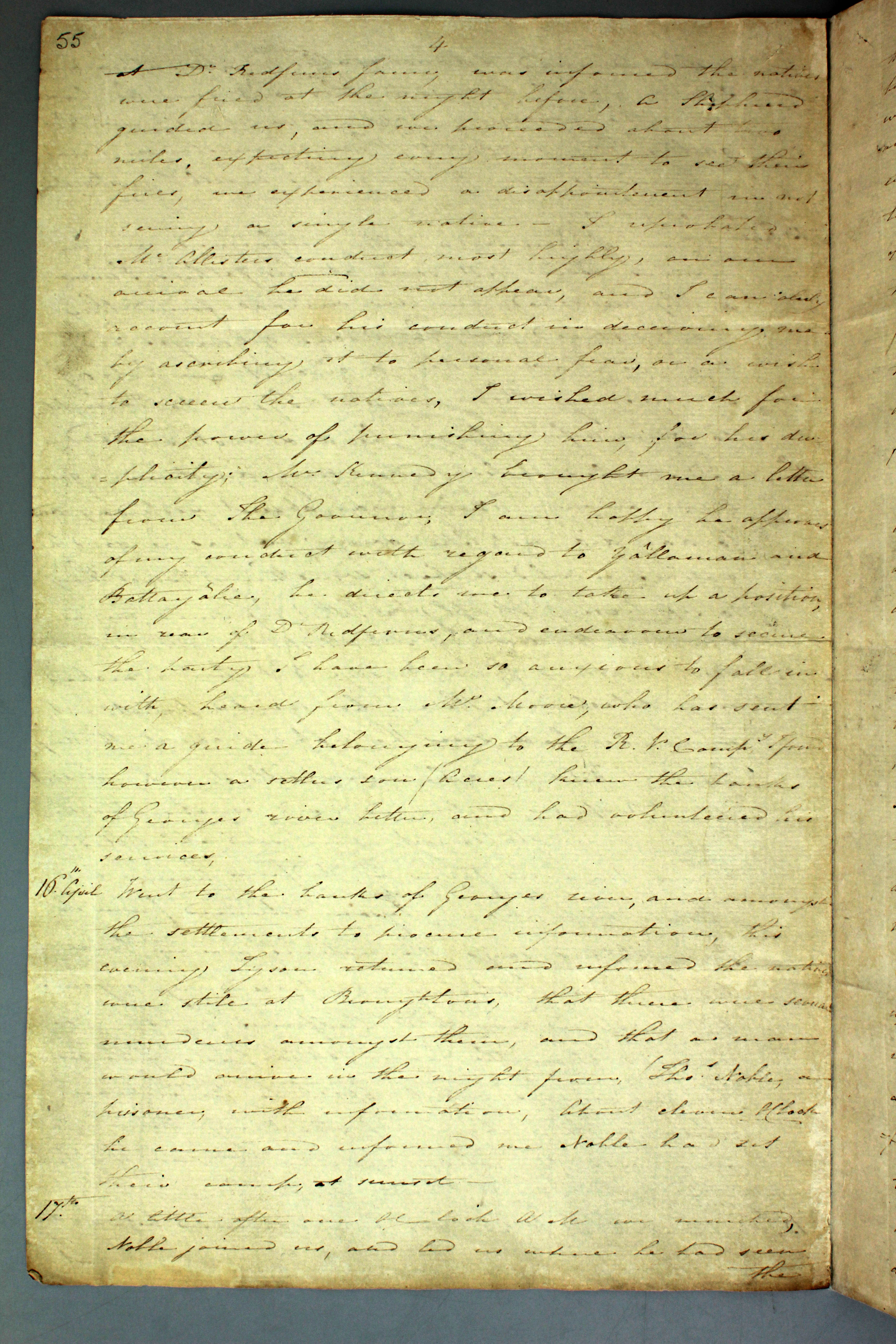 Colonial Secretary's papers - Diary of James Wallis relating to the Appin Massacre, 17 April 1816. NRS 897 4-1735 p55