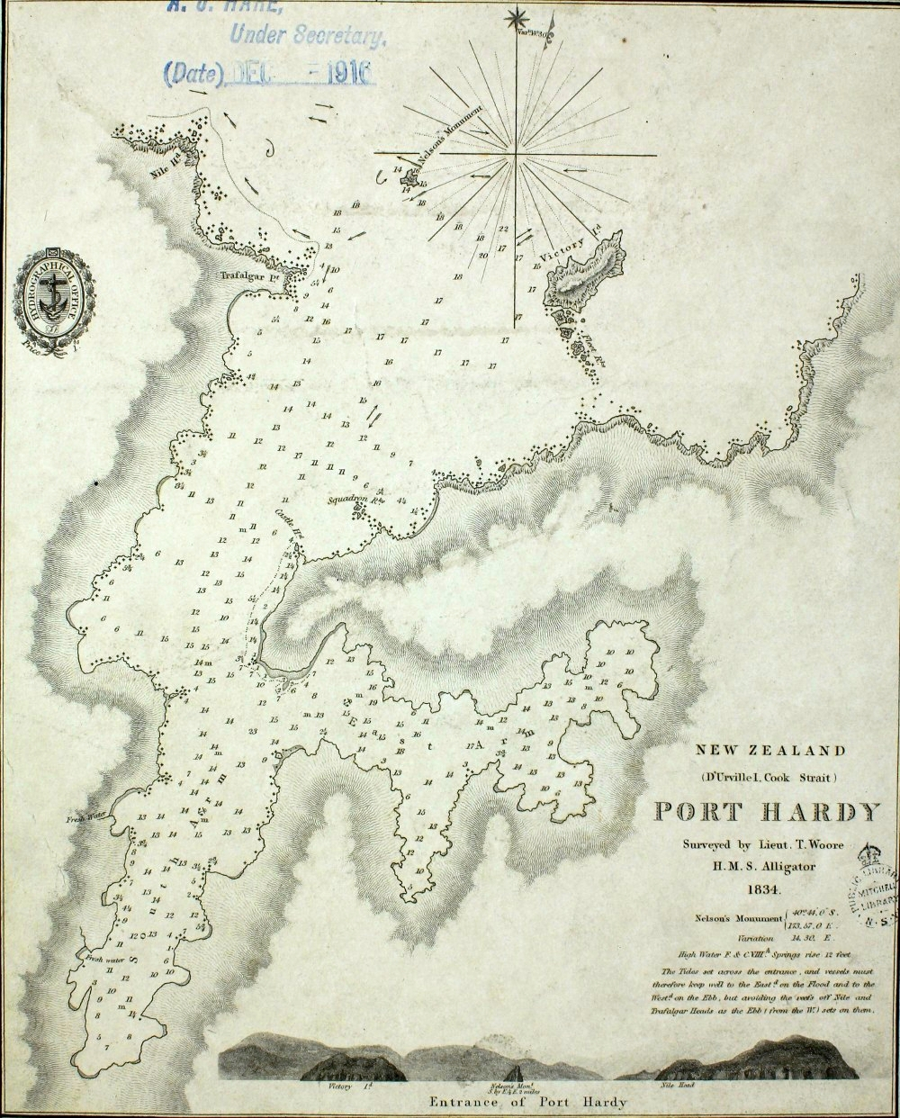 Map showing Port Hardy in the Cook Strait from 1834. In the bottom left hand corner there is a close up of the Port Hardy including a note about Nelson's Monument. SR Map 178