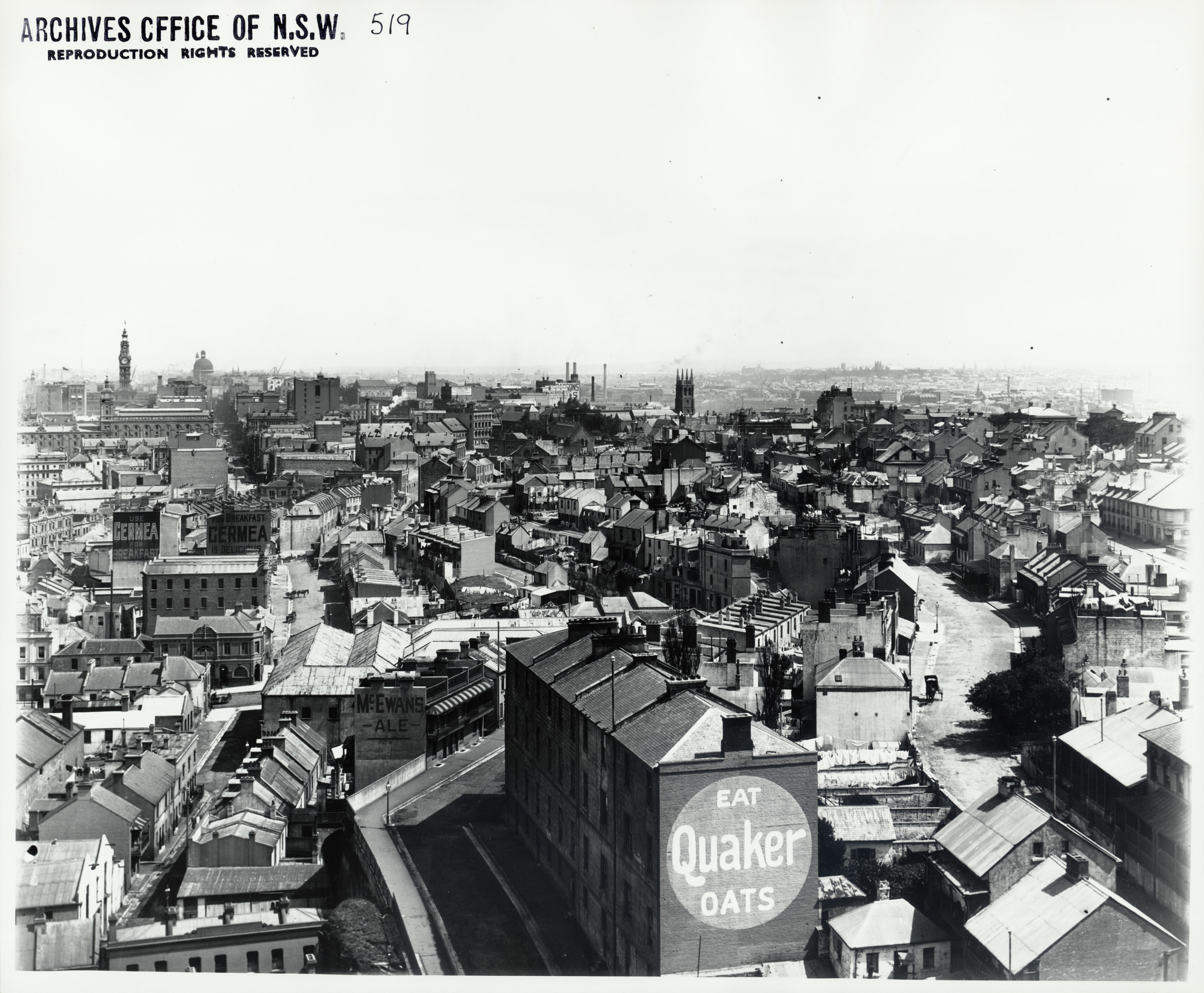 View from The Rocks looking south towards Sydney, 1904. Time on the clock is 2:10pm. ID 4481_a026_000475