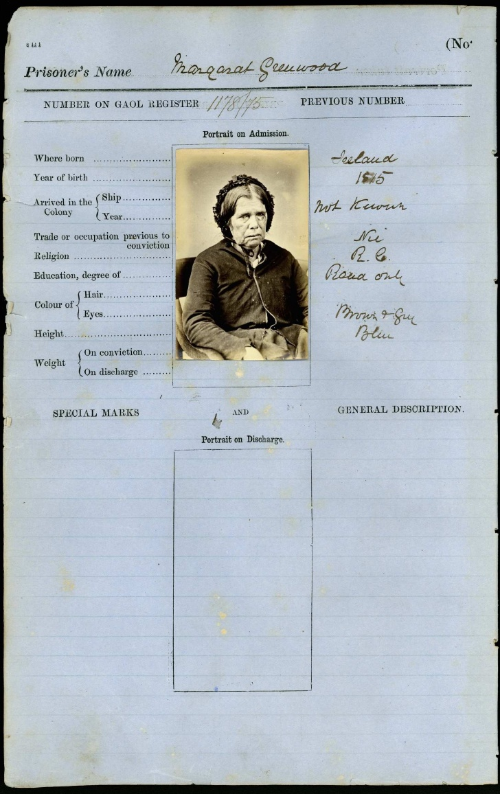 Darlinghurst Gaol, 1875 Photo of Margaret Greenwood (formerly an imperial convict) 1 of 2. Digital ID 2138_a006_a00603_604000061ar