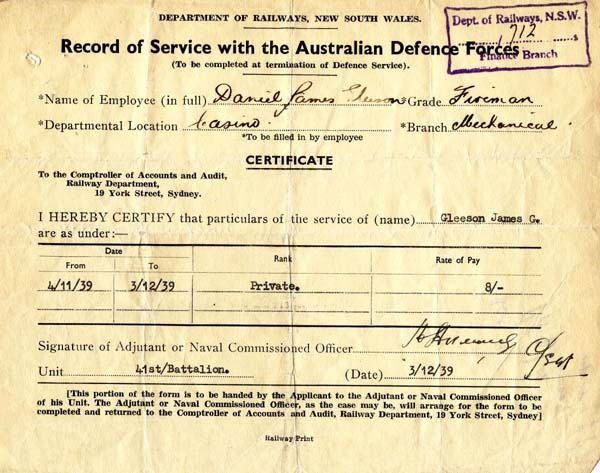 Part of a file for Daniel J. Gleeson, a Fireman from Casino, dealing with his service with the Australian Defence Forces during World War 2