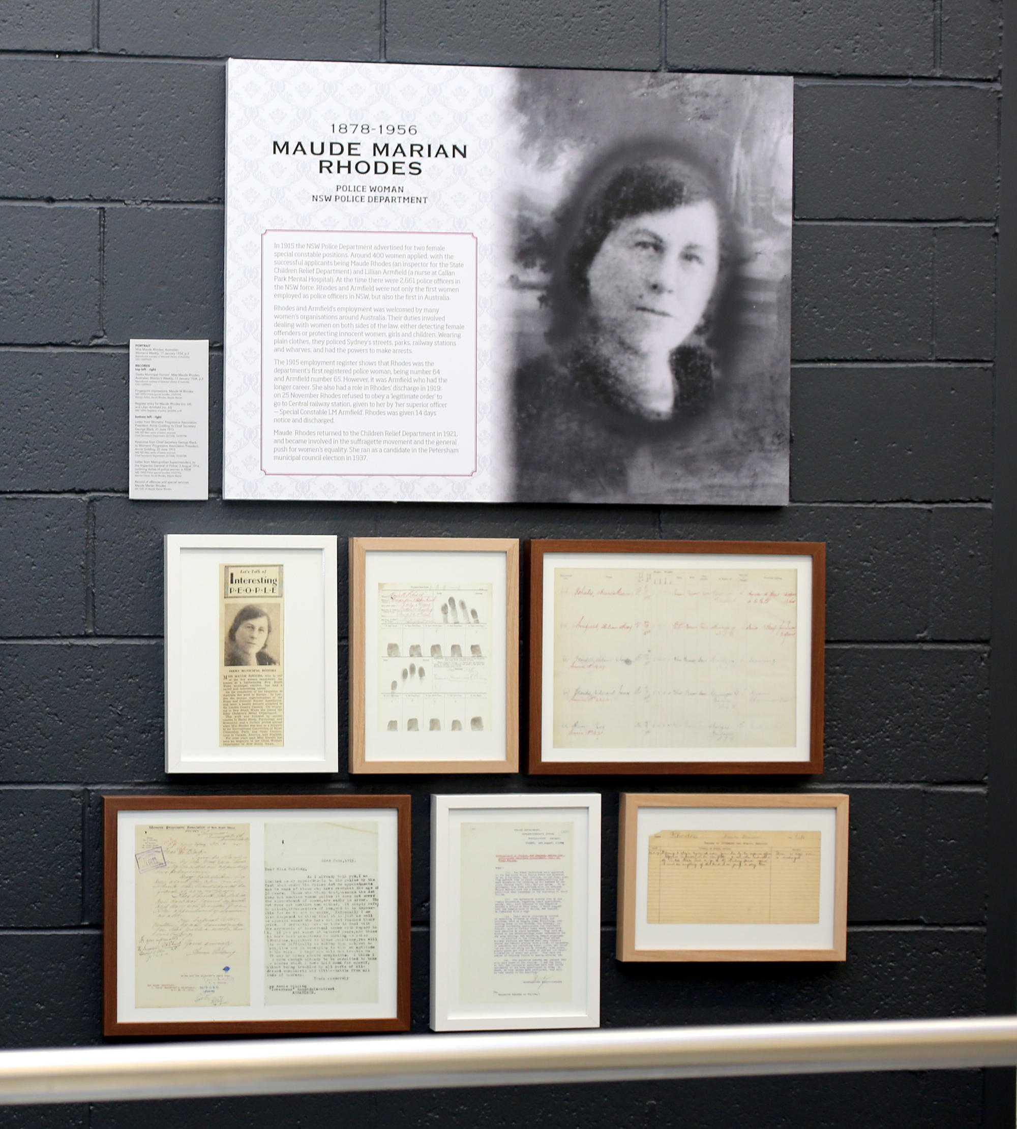 Display from the Public Service - War Service exhibition that ran until September 2016 showing the Maude Rhodes panel