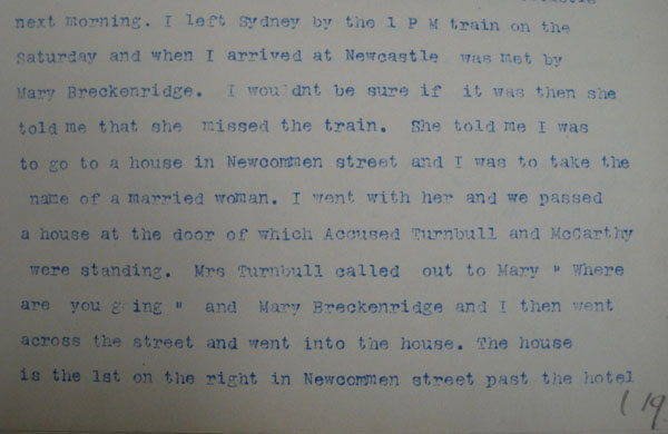 Jane Ann Benson describes arriving at Newcastle and making contact with Annie Turnbull on Newcomen Street. From NRS 880 [9/6975] Case #8