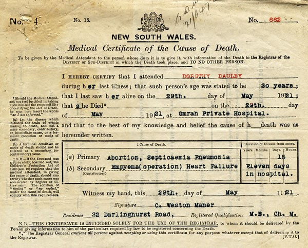 Medical certificate of the cause of death, signed by Dr Maher. Septicaemia, or blood poisoning, following an abortion was identified as one of the primary causes of Dorothy's death.  NRS 345 [2/10482] 1921 file 764