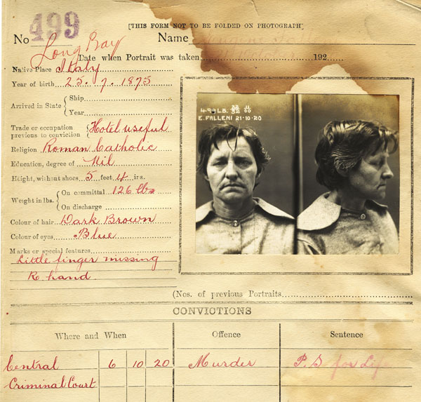 Gaol photo of Eugenia Falleni aged 45. NRS 2496 3-6006 p.499, 1920, State Reformatory for Women, Photo description books