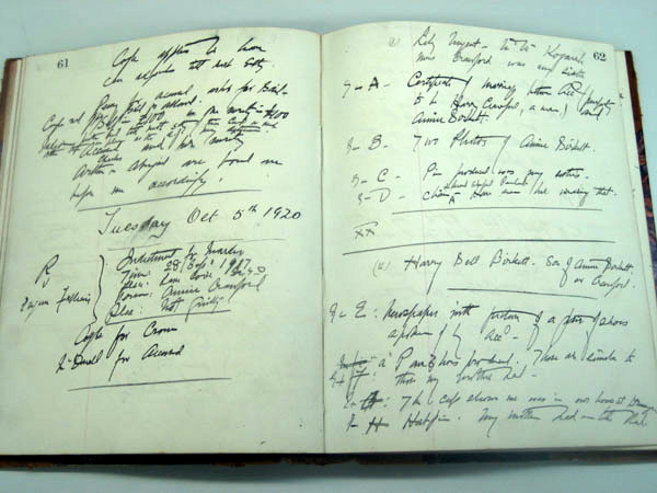 Handwritten notebook of the presiding judge, Chief Justice Cullen, at the Falleni trial. NRS 5808 7-9318