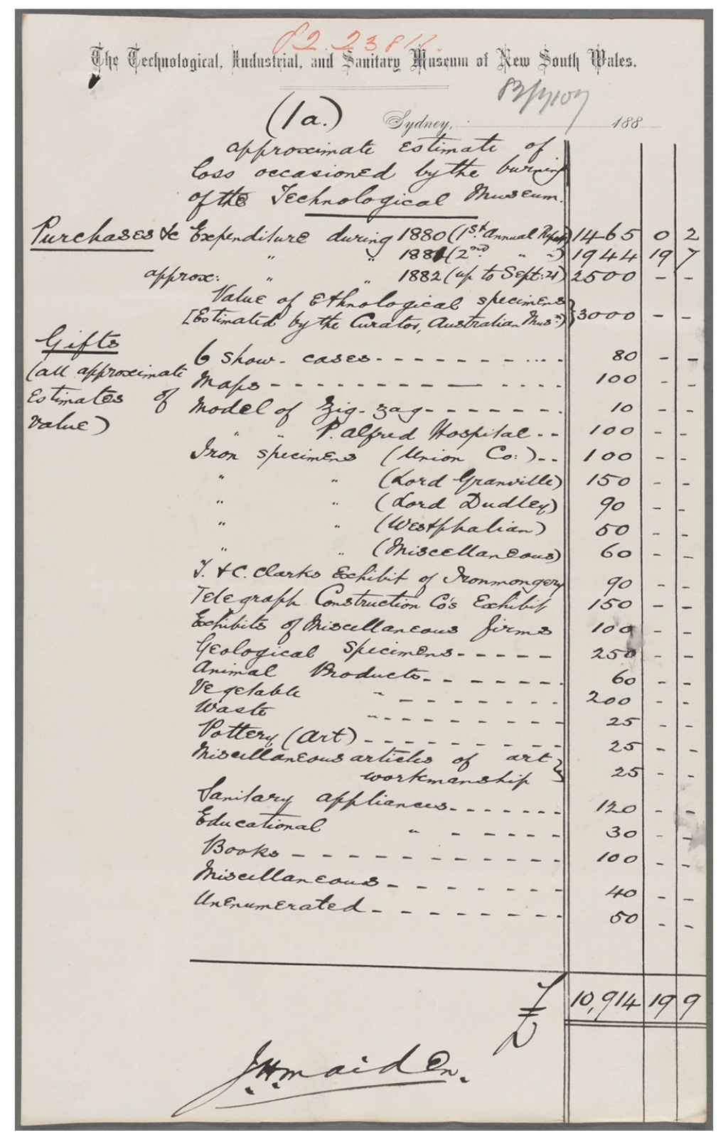 Approximate Estimate of Loss Occasioned by the burning of the Technological Museum, 1882. NRS 906 1-2527.2