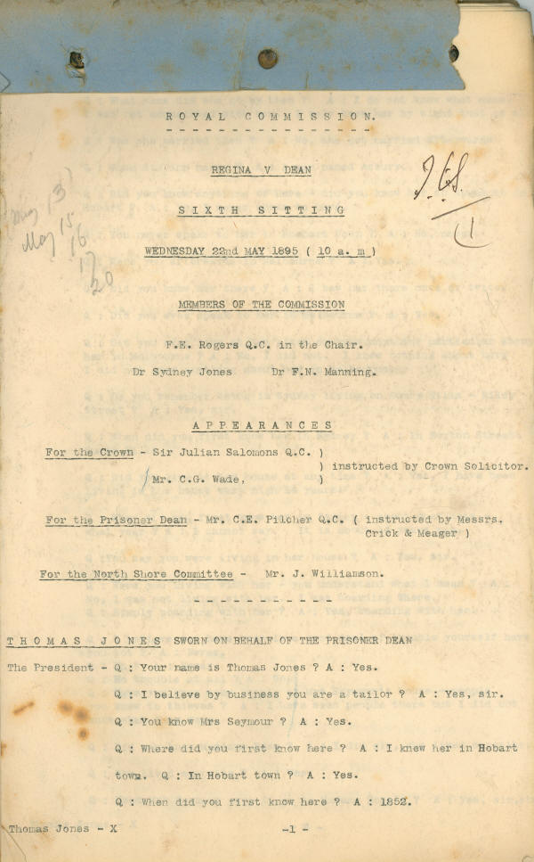 Papers and depositions concerning the Royal Commission into the case of George Dean. Front page of typescript of the transcription of the Royal Commission, 22 May 1895. NRS 880 [9/6896]