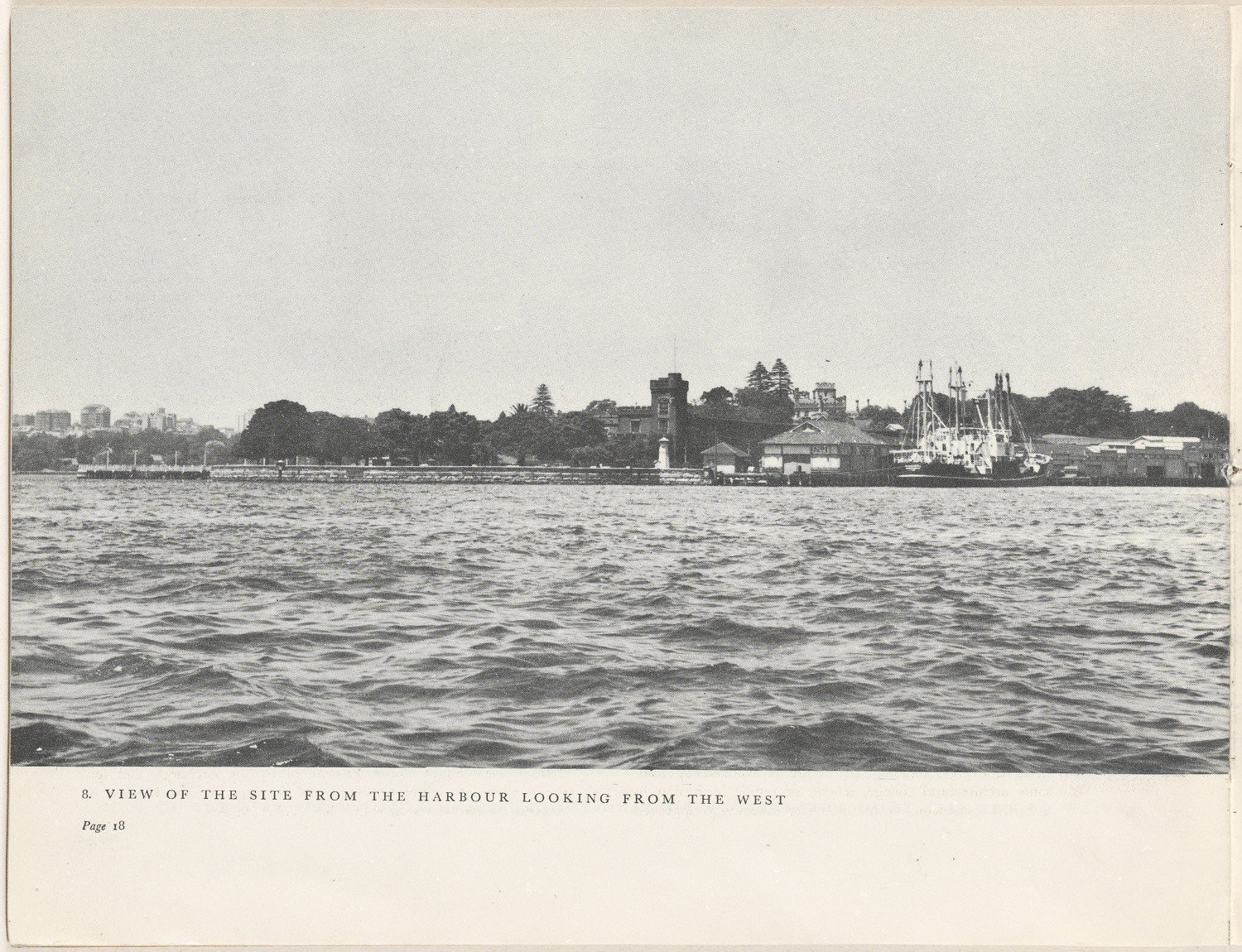 View of the site from the harbour looking from the west. Sydney Opera House - The Brown Book, 1955. NRS 12702