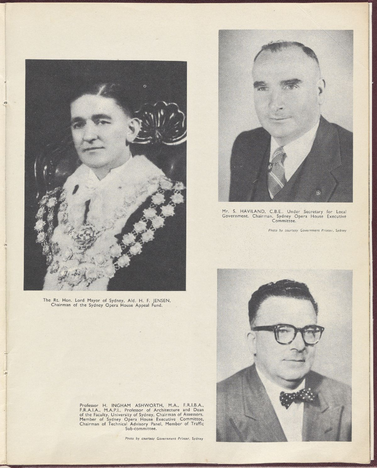 Photos of HF Jensen (Lord Mayor), S Haviland and H Ingham Ashworth. NRS12706, 2-8645A