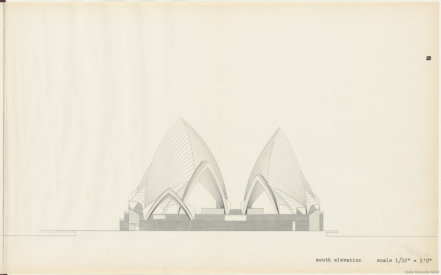 2. South elevation. Sydney Opera House - Yellow Book. NRS 12708
