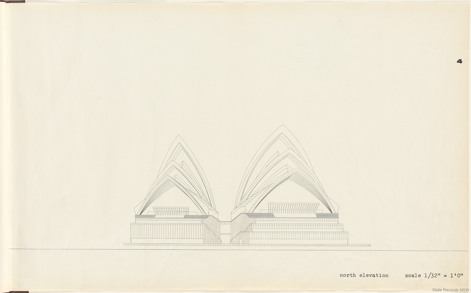 4. North elevation. Sydney Opera House - Yellow Book. NRS 12708