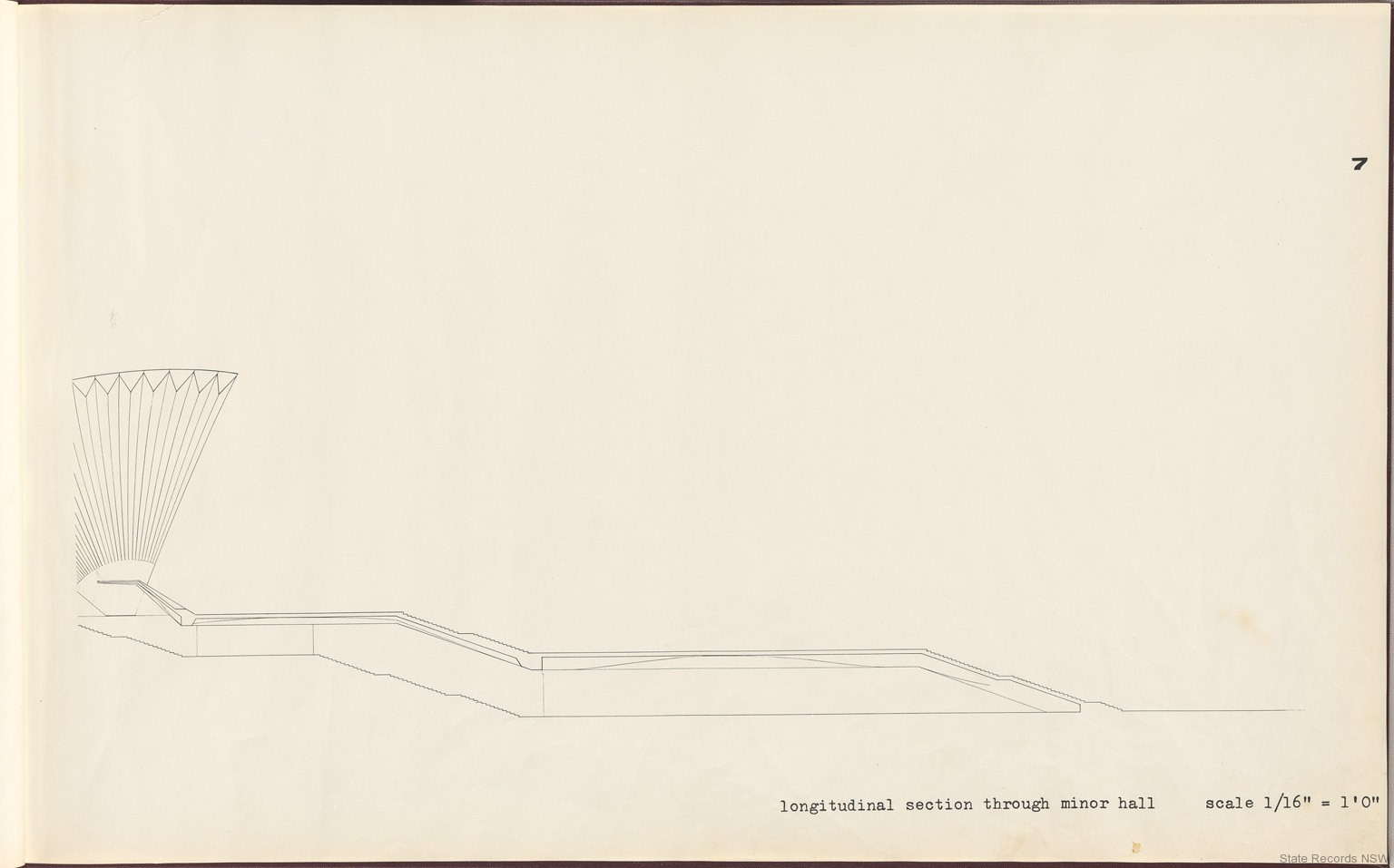 7. Longitudinal section through minor hall. Sydney Opera House - Yellow Book. NRS 12708