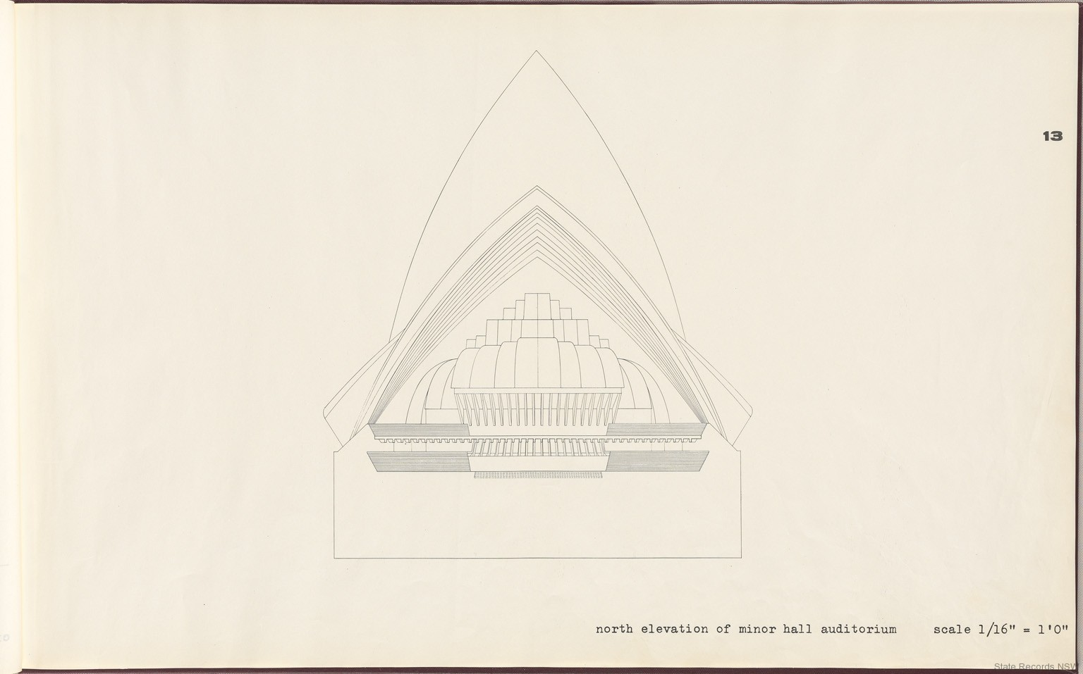 13. North elevation of minor hall auditorium. Sydney Opera House - Yellow Book. NRS 12708