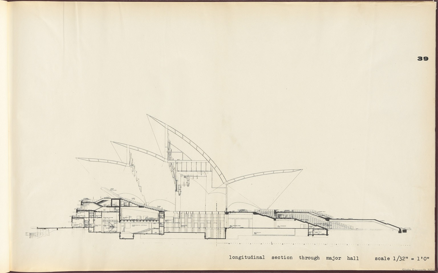39. Longitudinal section through major hall. Sydney Opera House - Yellow Book. NRS 12708