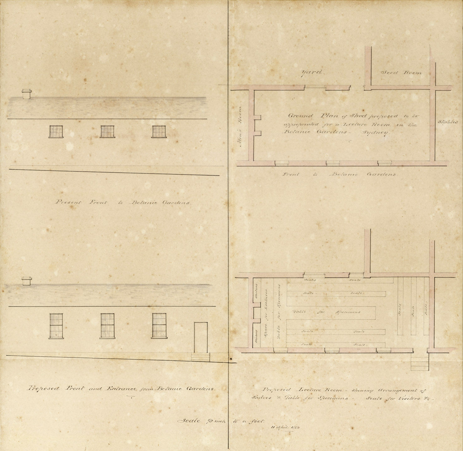 Fig. 7: Lecture Hall design, 11/4/1850. From NRS 12419, [2/640 B]