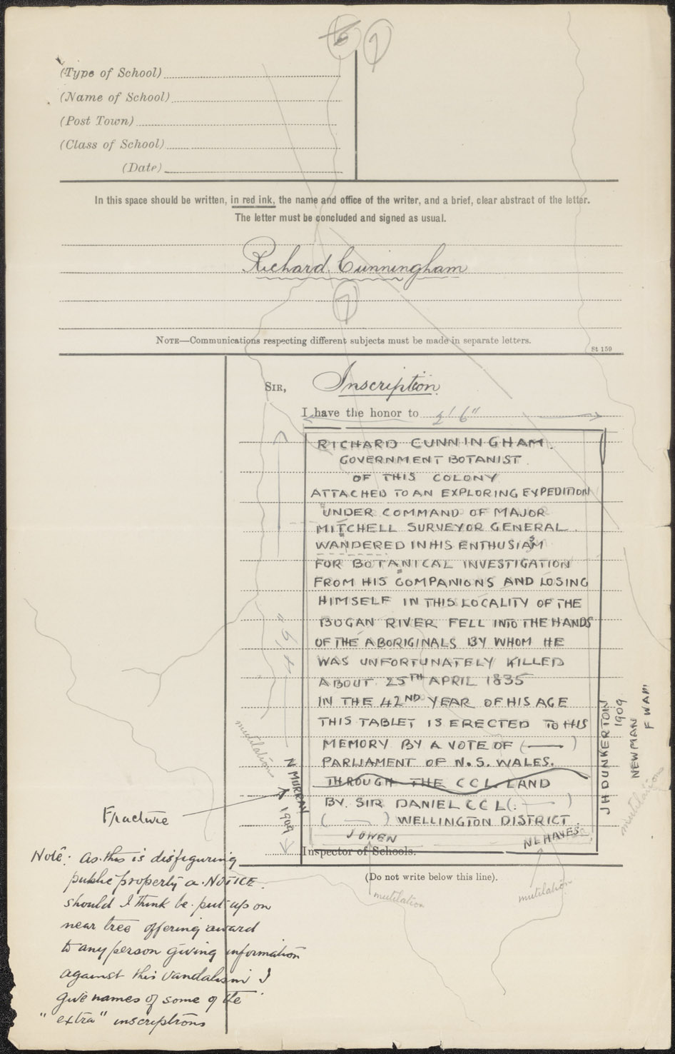 Fig. 6b: Diagram drawn by George Green detailing inscription on Cunningham's grave, 1920. NRS 20161, [17/8620], [19], George Green to Director of Botanic Gardens, 20/06/1920