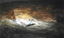Watercolour of the wreck of the Dunbar, by S.T. Gill (Ref: Mitchell Library, ZPXA 1983 f.34) Reproduced by permission of the Council of the Library of NSW