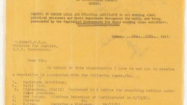 NRS 333 Attorney General and Justice: Special bundles, 1874-1984 5-7784.1. Request to the Minister for Justice to receive a deputation from the International Class War Prisoners Aid National Office 10 Dec 1931