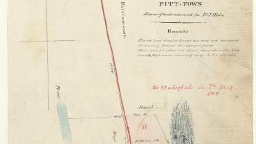 Pitt Town 50 acres of land measured for Dr J. Harris, 1829. Digital ID NRS13886-X751-a110-000187