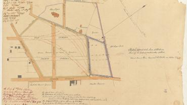 Sketch of part of the town of Windsor shewing the proposed continuation of street, 1835. Sketch book 3 folio 9 NRS13886-X753-a110-000039