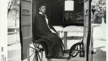 Nurse in the interior of Coast Hospital horsedrawn ambulance, n.d. Digital ID 4481_a026_000262