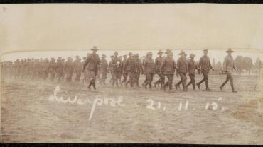 Soldiers drilling at Liverpool Camp, 21 November 1915. From NRS 4474 [1/194] D4480, image 11