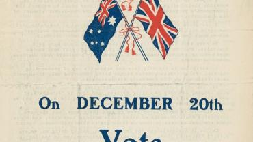 Conscription vote poster WW1 20 Dec 1917. Vote Yes leaflet. From NRS 12060 9-4762 letter 15-7546 p4