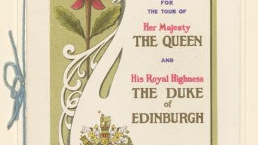 Front cover of menu from the Royal Train