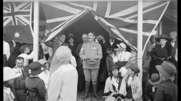 Sergeant John Degnin on 17 December 1916, at the presentation to him of 'Mosman Cottage', a house built by volunteers through the Frenchs Forest soldier settlement scheme