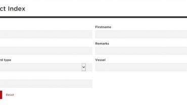 Screenshot of the Convict Index search form
