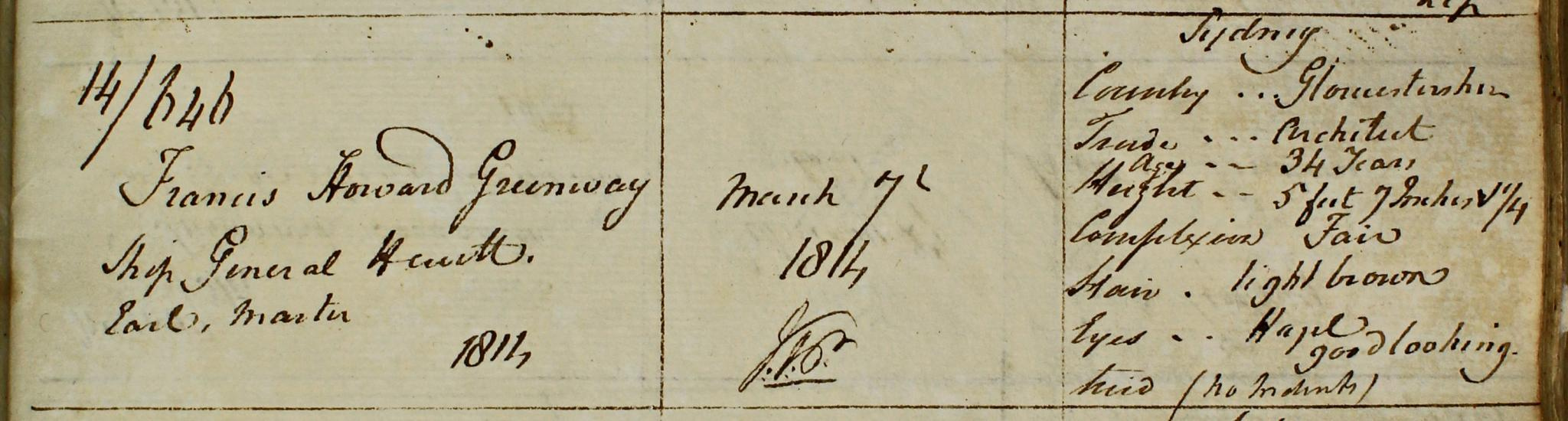 Ticket of Leave, Francis Greenway. NRS 1166 4-4427 Reel 601 p416