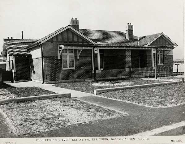 Foggit's No.3 Type let at 16s shillings per week, Dacey Garden suburb , Aug 1913. Digital ID 5225_a018_a018000029