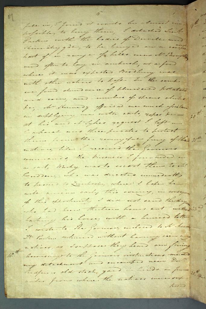 Colonial Secretary's papers - Diary of James Wallis relating to the Appin Massacre, 17 April 1816. NRS 897 4-1735 p57