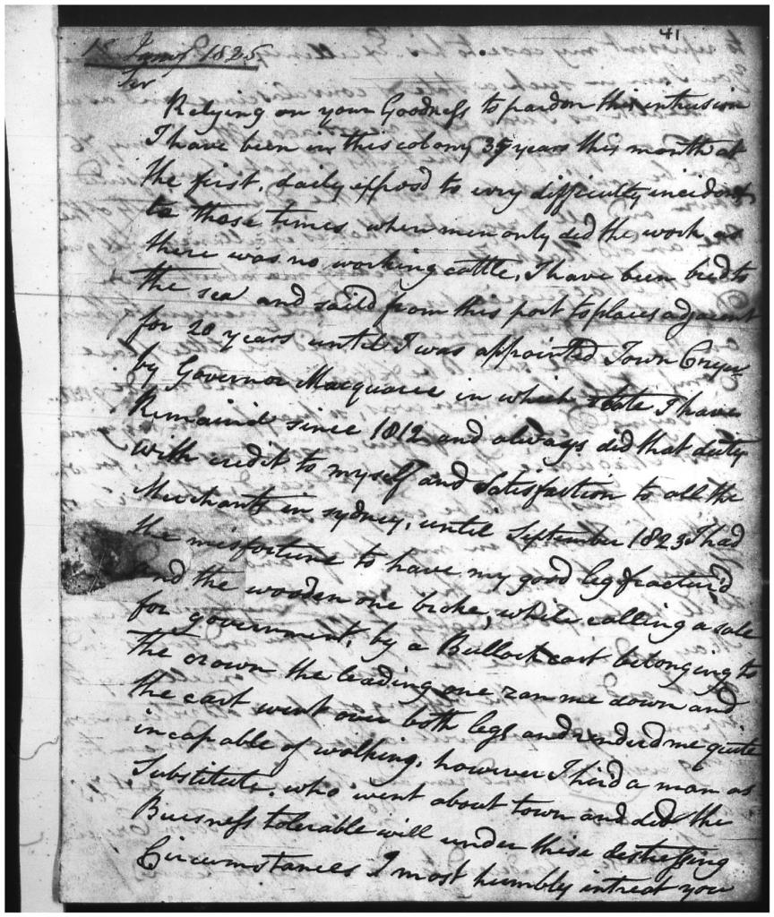 Letter from John Pendergrass explaining his injury and requesting an old hack horse to allow him to carry out his duties as town crier. NRS 898 4-1785 p.41 Reel 6063 (1 of 2)