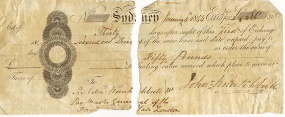 Supreme Court - Bank exchange from Sir Edward Knatchbull to John Knatchbull for the sum of £50, 1844 9-6329, No. 135