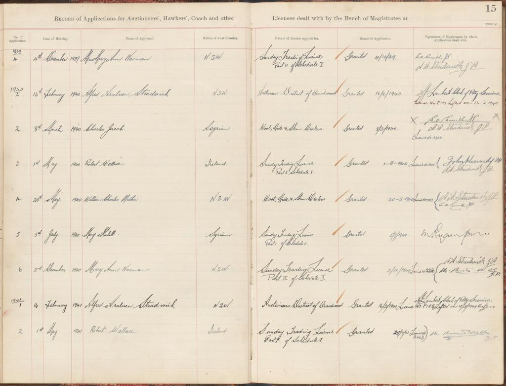 Araluen Court of Petty Sessions NRS 2736 Register of applications for auctioneers', hawkers' and other licenses, 1899-1944 7-136 part p15