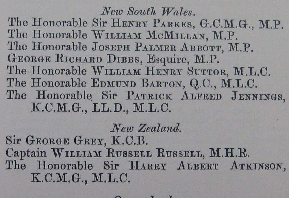 NZ was represented by Sir George Grey, the former Premier of NZ, Captain William Russell, Leader of the Opposition and Sir Harry Atkinson, former Premier of NZ, at the National Australasian Conference. NSW Votes and Proceedings 1891, Vol 1 p133