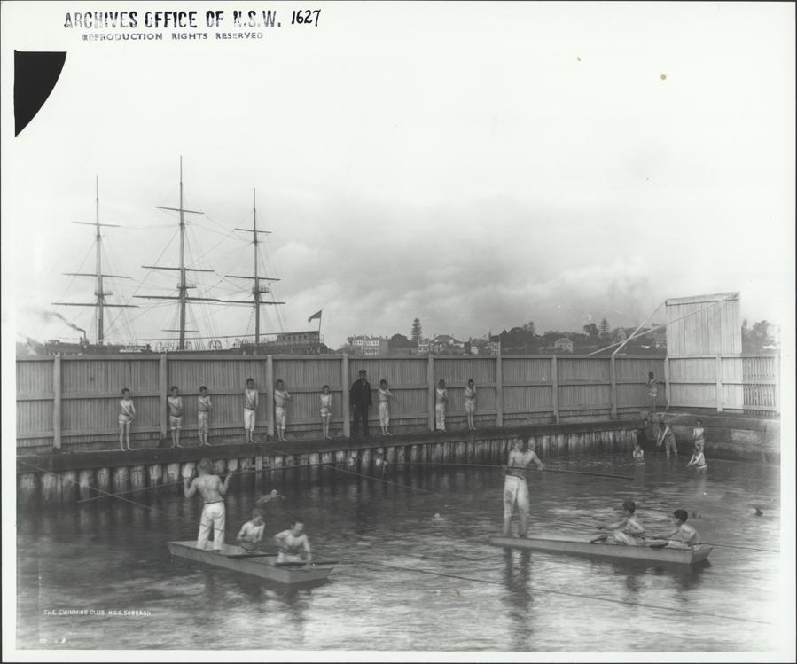 Naval cadets from N.S.S. Sobraon receiving swimming instruction, 11 Aug 1893. Digital ID 4481_a026_000977