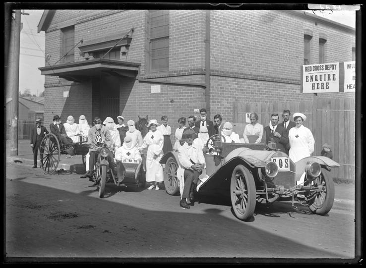 Staff outside Camperdown Influenza Depot, April 1919. From: NRS 4481, ST 6683