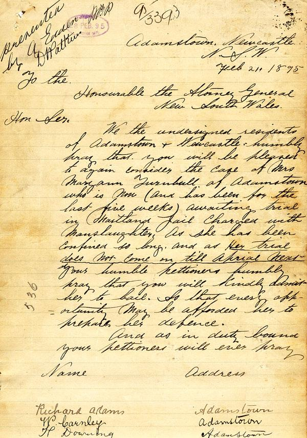 The petition, signed by over 380 residents of Newcastle, requests that Mary Ann Turnbull be released from gaol on bail to await her trial in two months time. NRS 880 [9/6909] 1895 Case #2