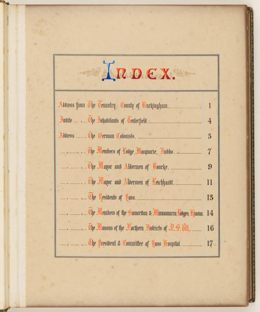 Carrington Volume 4 – Index 1885-1889. Addresses Presented to Lord Carrington Governor of New South Wales No. 4 NRS 20455 4