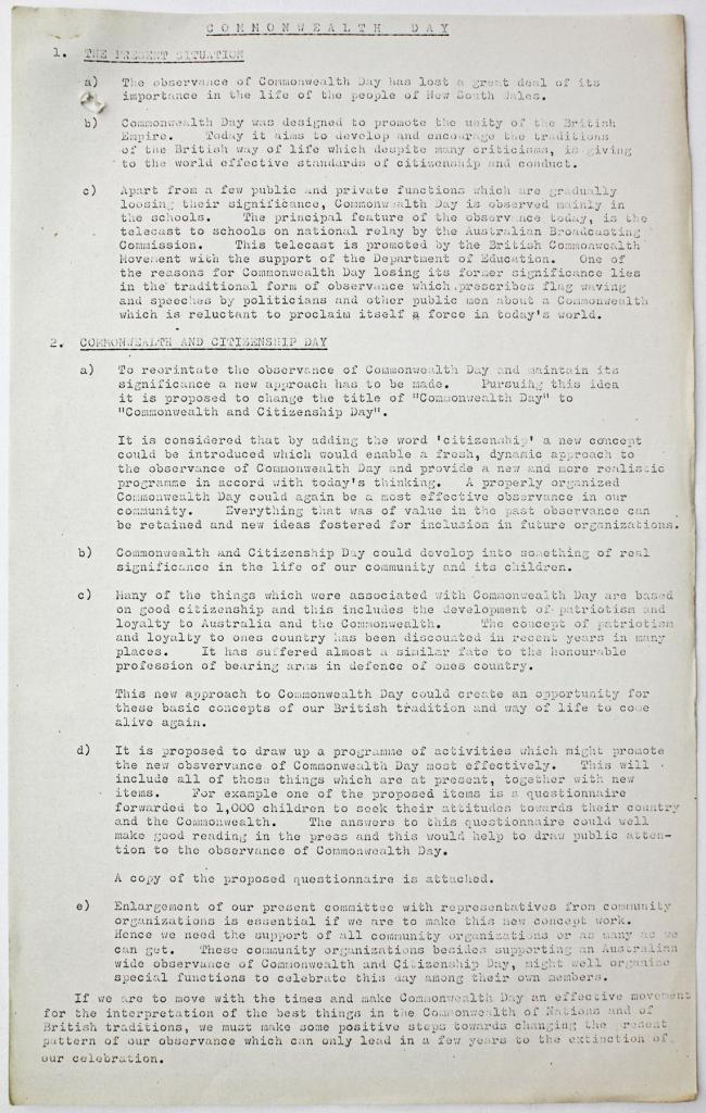 Commonwealth Day activities: Report on Commonwealth Day, 1970. From NRS 3830 67/21251 pt. 1