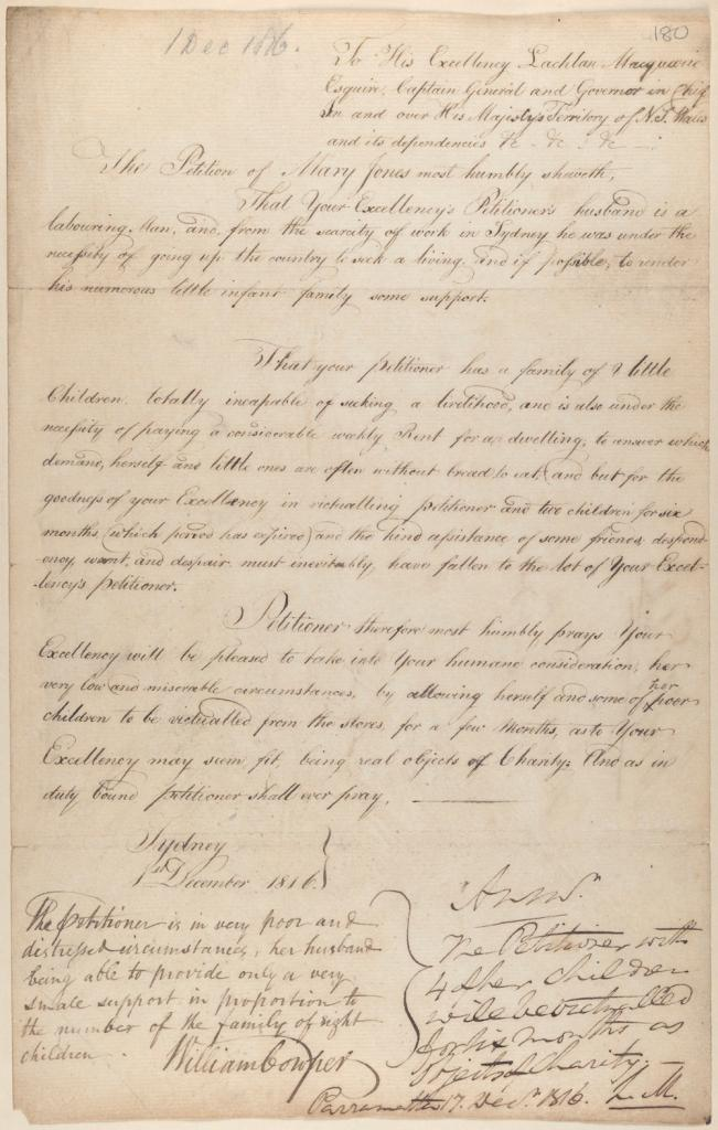 A petition to Governor Macquarie from Mary Jones and four of her eight children to be victualled from the Government Stores. NRS 897 4-1736-p180a