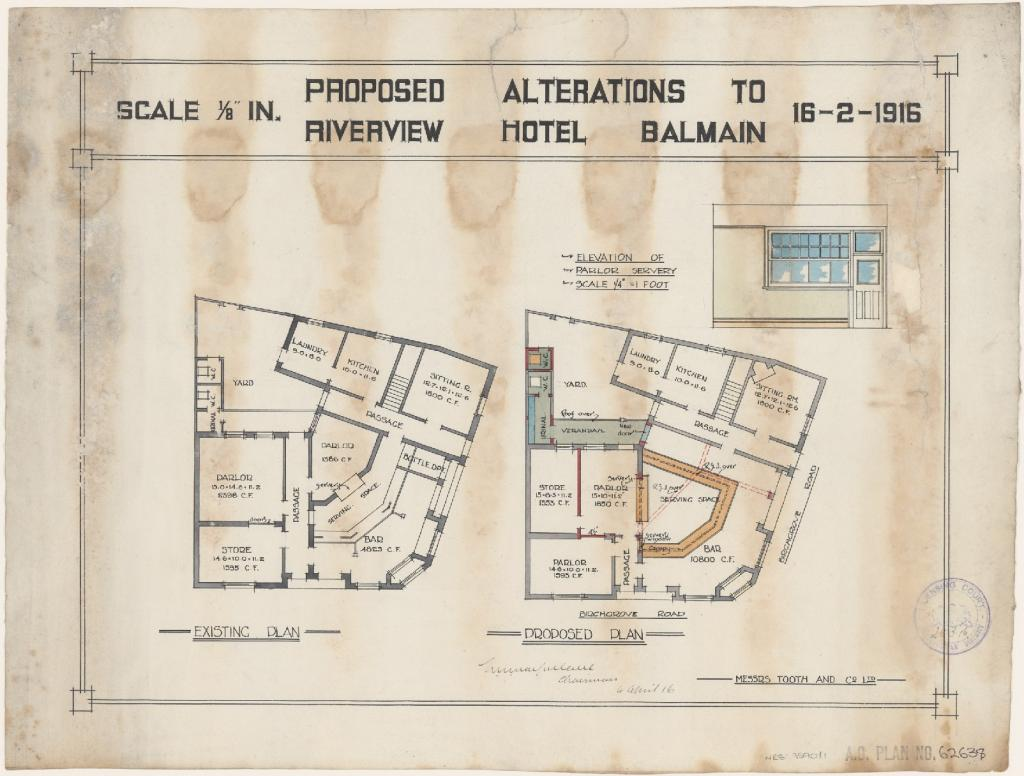 Riverview Hotel, Birchgrove Road, Balmain. Proposed alterations, existing and proposed ground floor plan, elevation of parlour servery. Applicant/owner, Misters Tooth and Company Limited. Application lodged 28 March 1916, application granted 16 April 1916