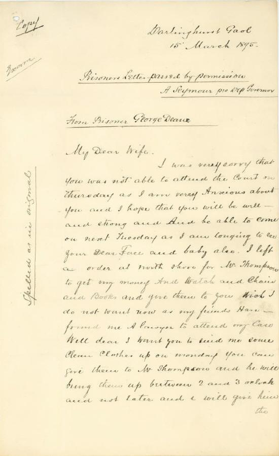 Papers and depositions concerning the Royal Commission into the case of George Dean, 1895 Copy of letter written by George to his wife Mary from prison, 15 March 1895. NRS 880 [9/6897] 1 of 2