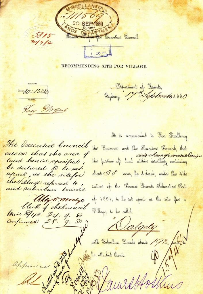 This is the recommendation that 58 acres be set aside for the establishment of Dalgety, dated 17 September 1880. NRS 8258 10-35519 letter 93-10195