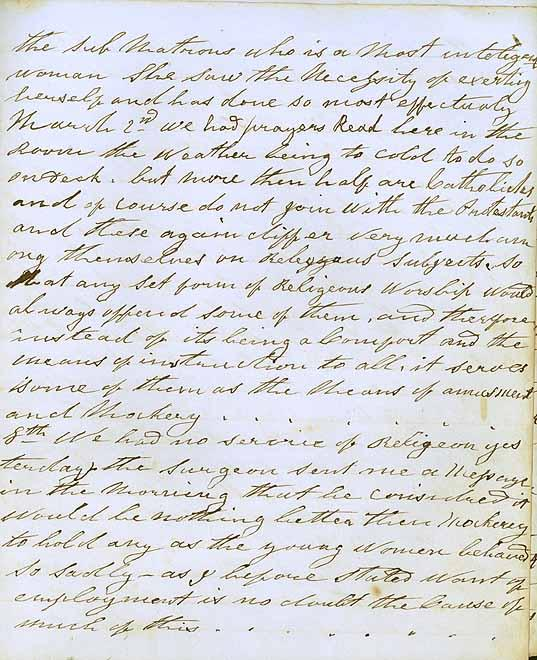Entries for 2-8 March 1857. All religious services cancelled due to rivalries between the Catholics and Protestants. ID 5239_a022_a022000028r