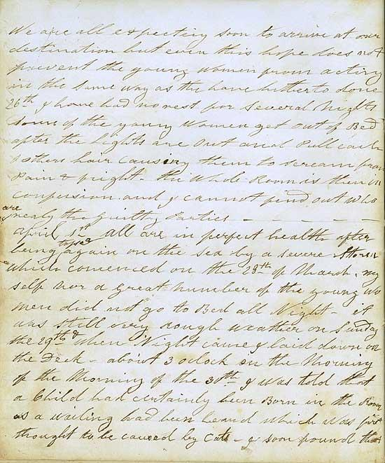 Entries for 26 March - 1 April 1857. All women in good health after a severe storm passed over. Screaming and hair-pulling occurring after lights out. ID  5239_a022_a022000033
